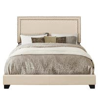 Cream Fabric-upholstered Bed with Nailhead Trim