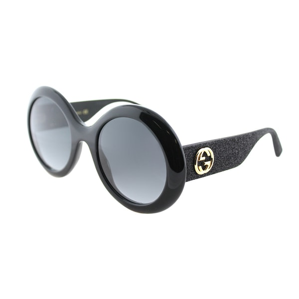 1616b39f8405d Gucci GG 0101S 001 Shiny Black Plastic Round Sunglasses Grey Gradient Lens