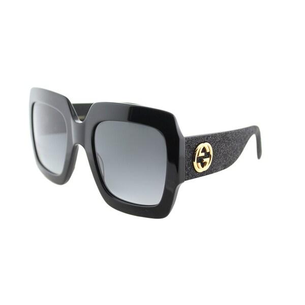 f37f395a8ec Gucci GG 0102S 001 Black Plastic Square Sunglasses Grey Gradient Lens