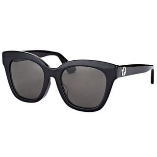 Gucci GG 0029S 001 Shiny Black Plastic Cat-Eye Sunglasses Grey Lens