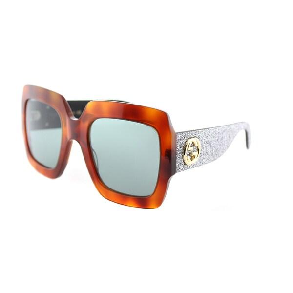 78962cc858a Shop Gucci GG 0102S 004 Light Havana Plastic Square Sunglasses Green ...