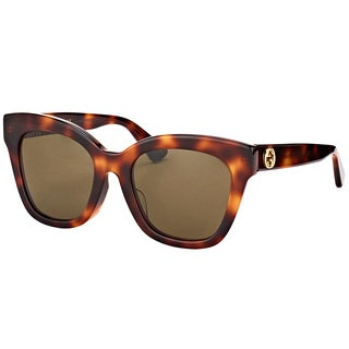 Gucci GG 0029S 002 Shiny Dark Havana Plastic Cat-Eye Sunglasses Brown Lens