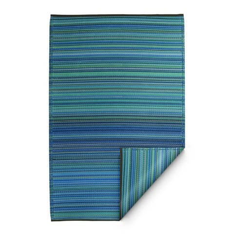 Handmade Cancun Indoor/Outdoor Turquoise and Moss Green Rug (India) - 3' x 5'