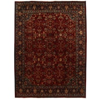 Herat Oriental Persian Hand-knotted Tribal Mahal Wool Rug (9'8 x 12'10)