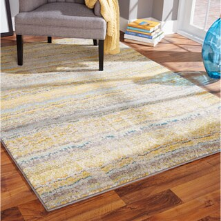 Distressed Ikat Yellow/ Grey Rug (9'9 x 12'2) (As Is Item)