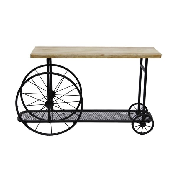 The Urban Port Industrial Design Sofa Console Table With Wooden Top And Metal Wheels Base, Sand Black