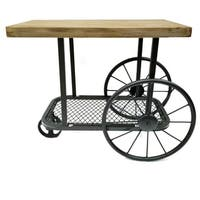 Industrial Design End Table With Wooden Top And Metal Wheels Base, Sand Black