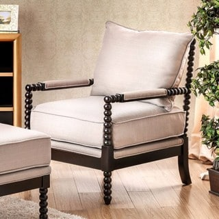 Sybil Beige Wood Contemporary Accent Chair