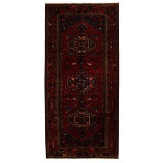 Herat Oriental Persian Hand-knotted Tribal Nahavand Wool Runner (4'6 x 9'5) - 4'6 x 9'5