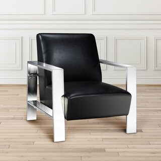 Aurora Black Faux Leather and Chrome Accent Chair