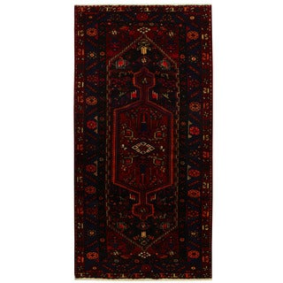 Herat Oriental Persian Hand-knotted Tribal Nahavand Wool Runner (4'9 x 9'6) - 4'9 x 9'6