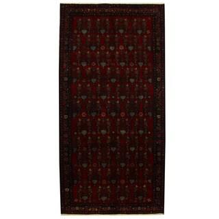 Herat Oriental Persian Hand-knotted Tribal Hamadan Wool Rug (4'11 x 9'10)