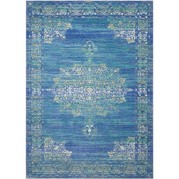 Shop Nourison Cambria Traditional Teal Area Rug