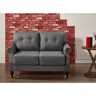 Iva Mid Century Linen Fabric Button-tufted Upholstered Loveseat