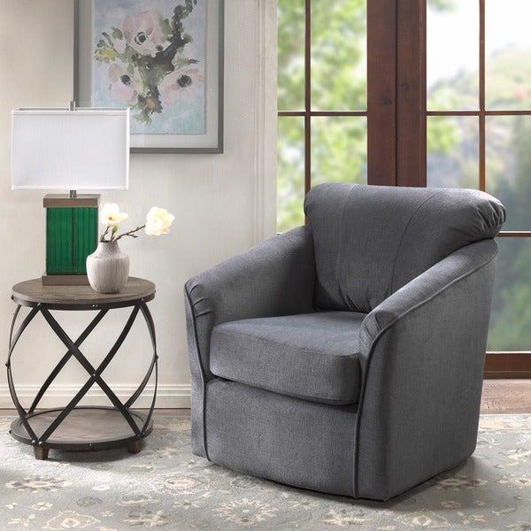 Shop Madison Park Elgin Grey Swivel Chair Free Shipping