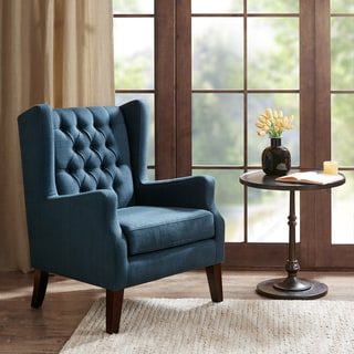 Madison Park Roan Navy Button Tufted Wing Chair