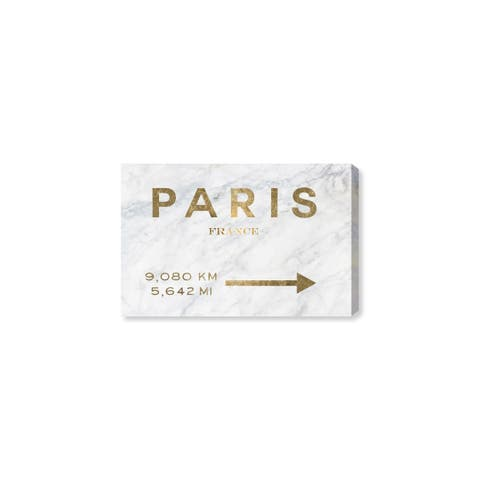 Oliver Gal 'Paris Road Sign' Fashion and Glam Wall Art Canvas Print - Black, White