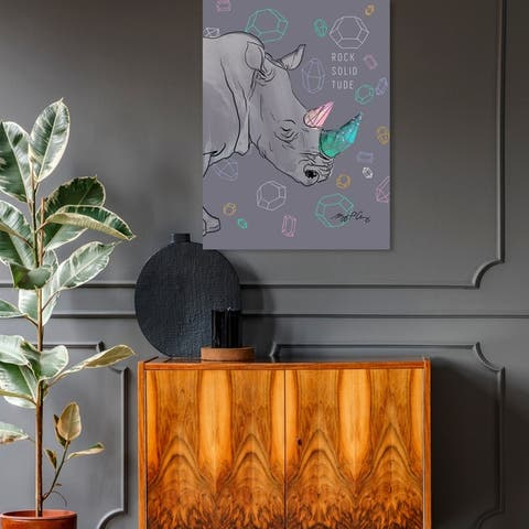 Oliver Gal 'Maggie P Chang - Rhino Rock Solidtude' Animals Wall Art Canvas Print - Gray, Green