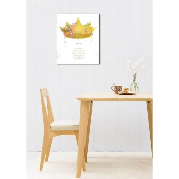 Oliver Gal 'Maggie P Chang - Crown Queen' Typography and Quotes Wall Art Canvas Print - Yellow, White