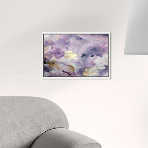 Oliver Gal Abstract Wall Art Framed Canvas Prints 'Carried Away Amethyst' Watercolor - Purple, Gold