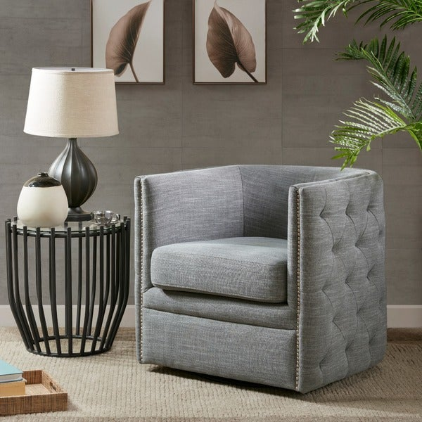 Shop Madison Park Wilmette Slate Swivel Chair On Sale