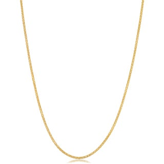 Fremada Italian 14k Yellow Gold 1-mm Diamond-cut Round Wheat Chain Necklace