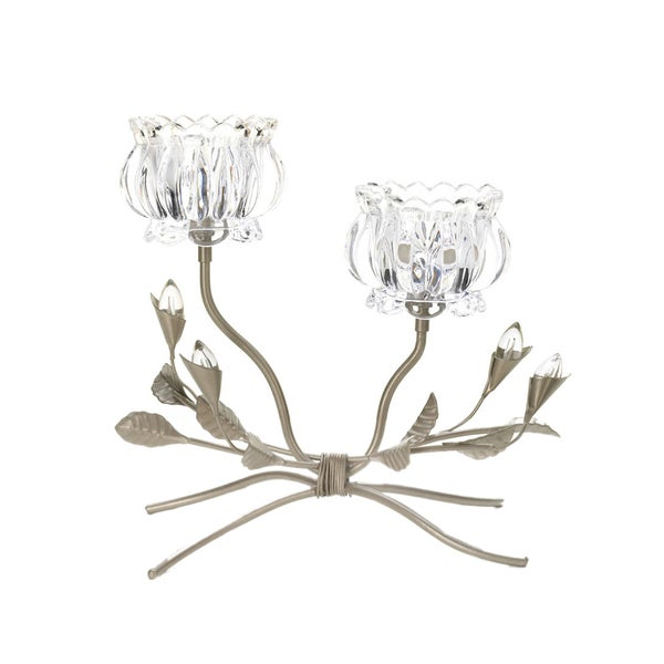 Shop koehler home decor crystal iron flower candle stand for Koehler home decor