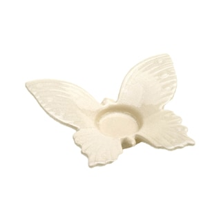 Koehler Home Decor Butterfly White Stoneware 6-inch Tealight Holder