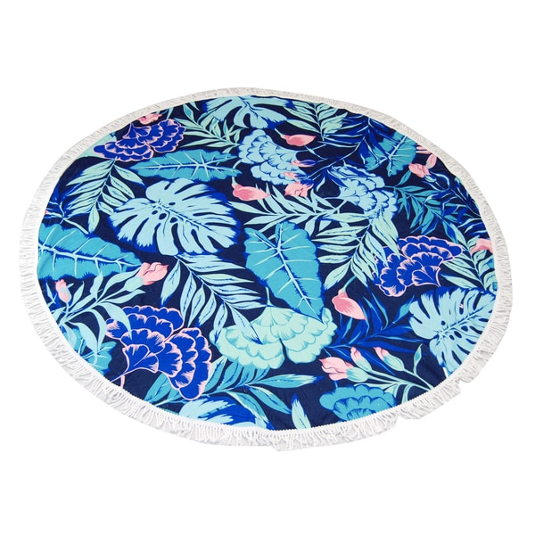 Tropical Leaves 60-inch Round Beach Towel