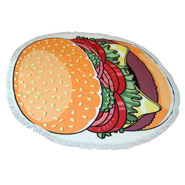 Burger Print 60-inch Round Beach Towel