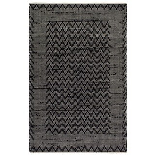 Handmade Fab Habitat Recycled Cotton Reclaimed Fibers Flat Weave, Floor Mat Area Rug, Allure Black & Cream (India) - 8' x 10'