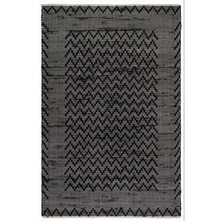 Handmade Fab Habitat Recycled Cotton Reclaimed Fibers Flat Weave, Floor Mat Area Rug, Allure Black & Cream (India)