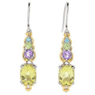 Michael Valitutti Palladium Silver Ouro Verde & Multi Gemstone Drop Earrings