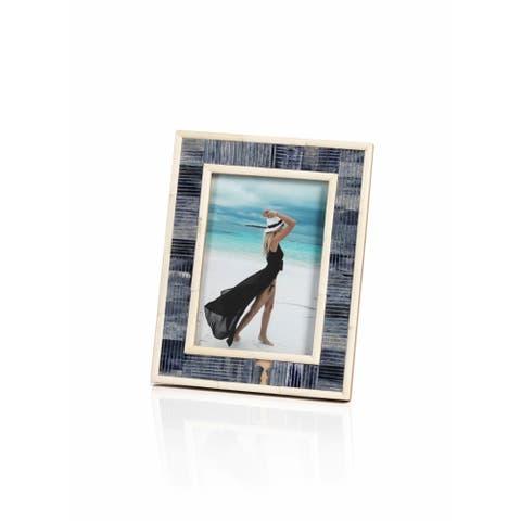 "Mendocino Blue Carved Bone Photo Frame- 5"" x 7"""