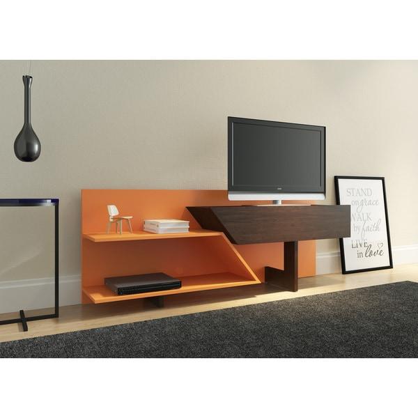 Ideaz International 23802 Prisma Retro Espresso Orange Tv Stand On Free Shipping Today 16340703