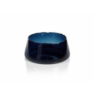 """Manarola"" 12"" Wide Glass Decorative Bowl, Midnight Blue"