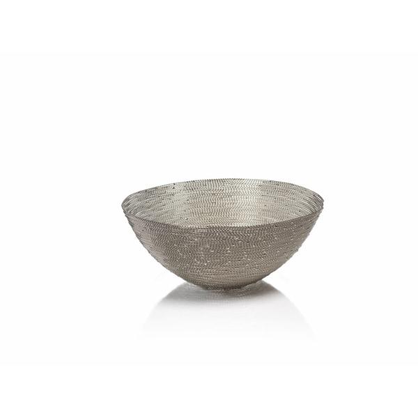 """Zulu"" 11.25"" Diameter Woven Wire Decorative Basket, Round Shaped"
