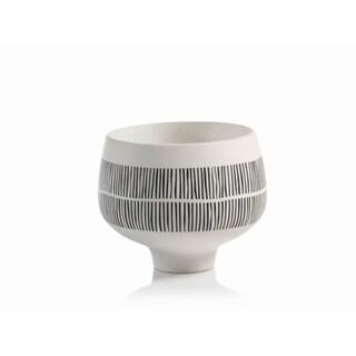 Zodax 9-Inch Tall Marquesa Ceramic Pedestal Bowl
