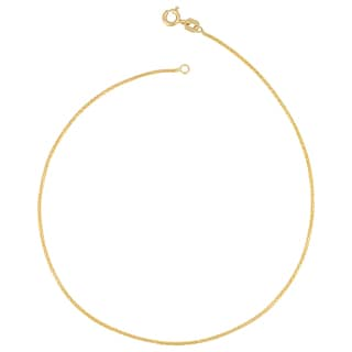 Fremada Italian 14k Yellow Gold Diamond-Cut Round Wheat Chain Anklet (0.95mm, 10 inch)