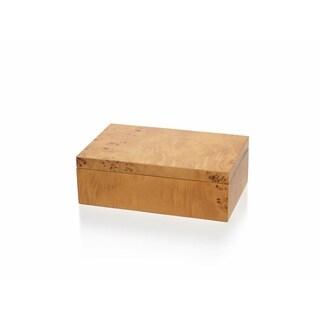 """Manik"" 10"" Long Burlwood Decorative Box, Rectangular Shaped"