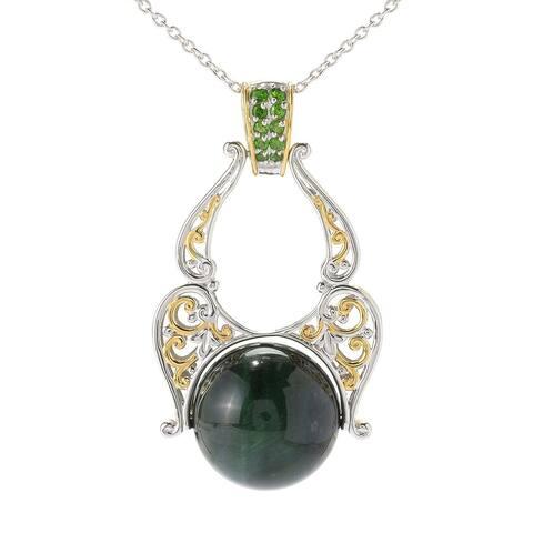 Michael Valitutti Palladium Silver Green Tiger's Eye & Chrome Diopside Pendant