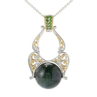 Michael Valitutti Palladium Silver Green Tiger's Eye & Chrome Diopside Pendant