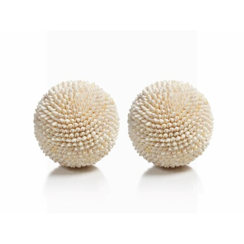 """Palay"" Shell Decorative Ball, White (Set of 2)"