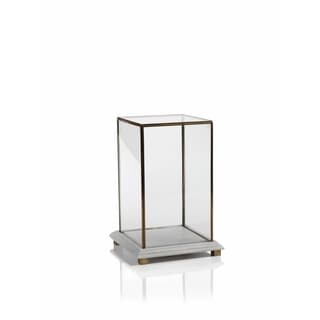 13-Inch Tall Glass Box on Marble and Brass Base