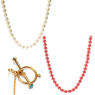 Michael Valitutti Palladium Silver White/Red Bamboo Coral & Sleeping Beauty Turquoise Beaded Toggle Necklace