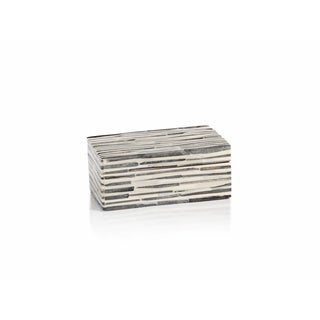 """Sanur"" 6"" Long Bone Decorative Box, Gray & White"