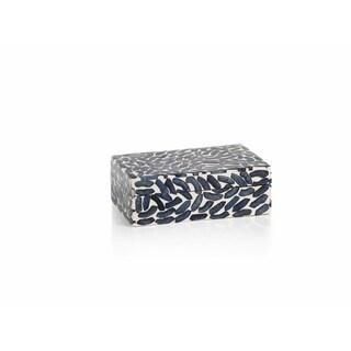 "6"" Long Legian Decorative Box, Navy Blue Bone Inlay"