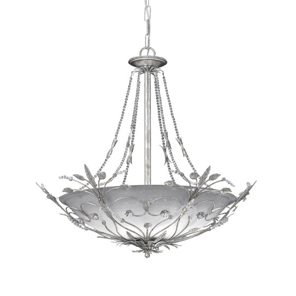 Crystorama Primrose Collection 6-light Silver Leaf/Crystal Chandelier