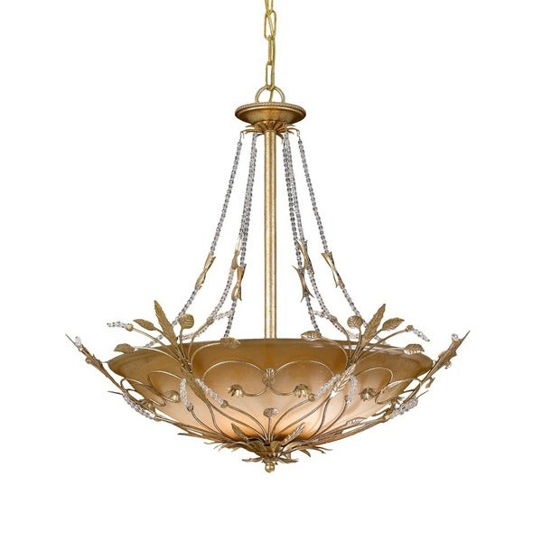 Crystorama Primrose Collection 6-light Gold Leaf/Crystal Chandelier
