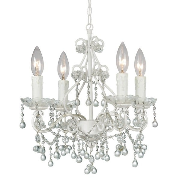 Crystorama Paris Market Collection 4-light Wet White/ Crystal Mini Chandelier